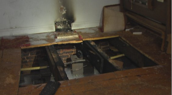 The damage to the sanctuary floor (Lydia Johnson/WSET)