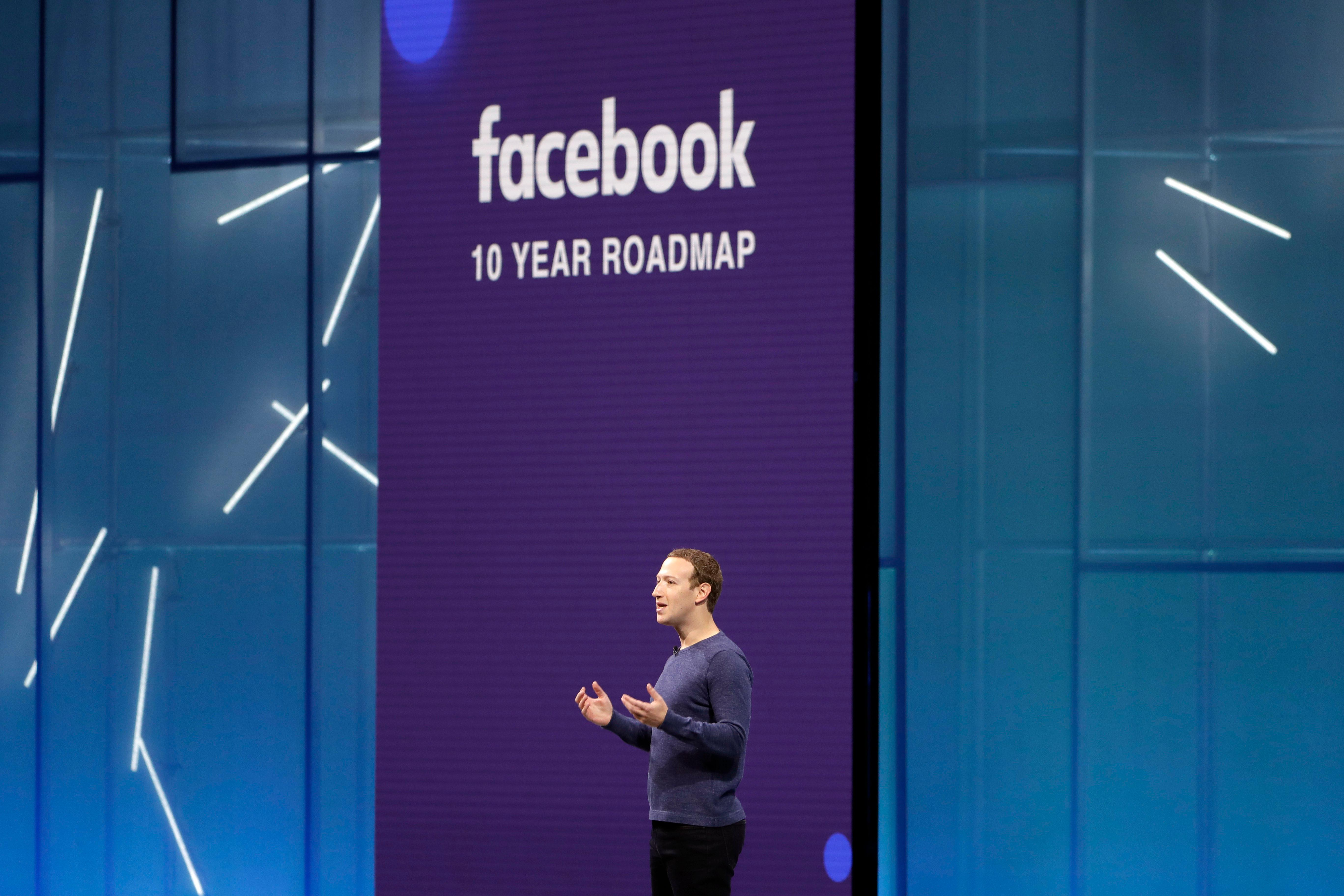 FILE- In this May 1, 2018, file photo, Facebook CEO Mark Zuckerberg makes the keynote speech at F8, Facebook's developer conference, in San Jose, Calif. Facebook is suspending about 200 apps that it believes may have misused data. The social media giant said in a blog post Monday, May 14, that the suspensions resulted from its investigation into all apps that had access to large amounts of information before Facebook changed its platform policies in 2014. (AP Photo/Marcio Jose Sanchez, File)