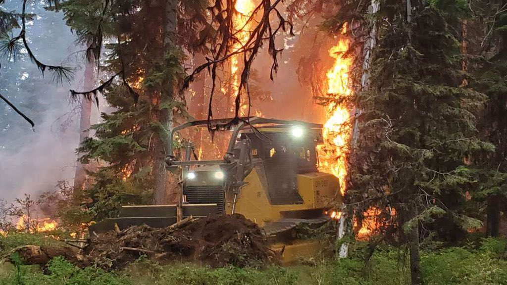 A bulldozer crew works to contain the Green Ridge Fire in Central Oregon on August 17, 2020. Photo courtesy Central Oregon Fire Info{ }