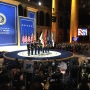 Service members salute Trump at armed services inaugural ball
