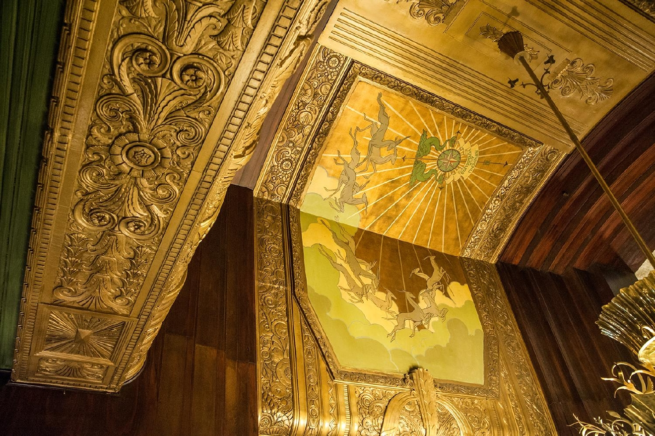 BUILDING: Hilton Cincinnati Netherland Plaza / LOCATION: 35 W 5th St (45202) -- Downtown / TIDBIT: A mural above the chandelier. Even the ceilings are steeped in detail. / IMAGE: Melissa Doss Sliney