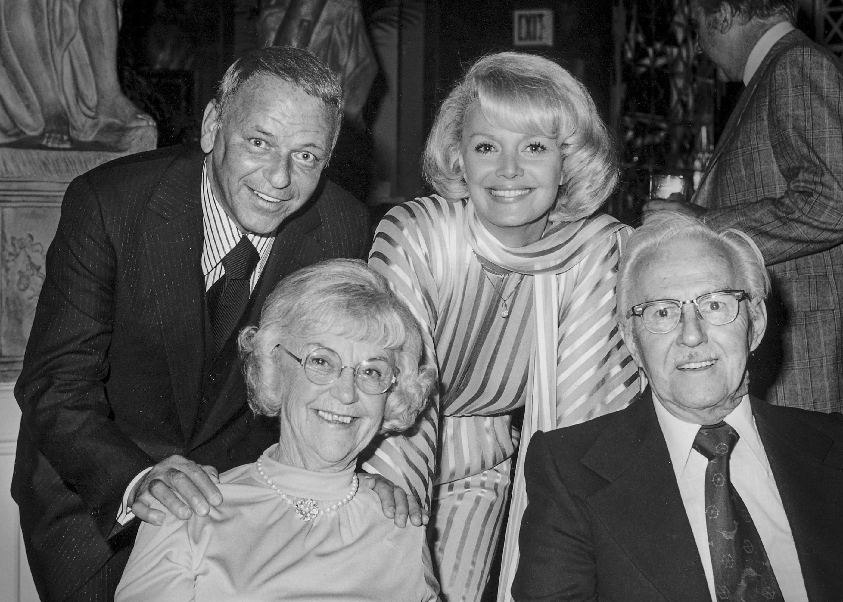 Frank Sinatra, top left, and Barbara Sinatra, top right, pose with others at Caesars Palace in Las Vegas on May 23, 1976. Barbara Sinatra, the wife of late-singer Frank Sinatra, died Tuesday morning at her Rancho Mirage, Calif., home, a family spokesman announced. (CREDIT: Las Vegas News Bureau)