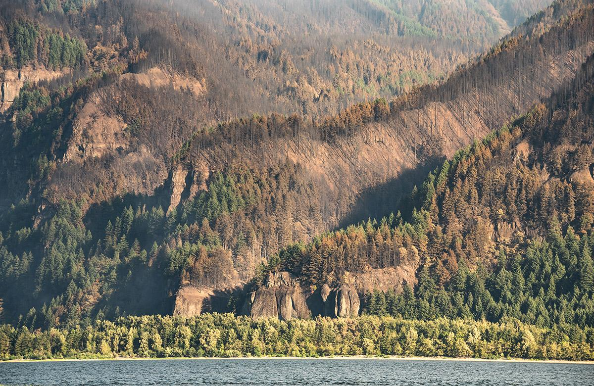 Oneonta Gorge - Crews are working to contain the Eagle Creek Fire, a human-caused fire burning thousands of acres in Oregon's Columbia River Gorge and threatening several natural landmarks. (Photo taken by Chris Liedle on September 10, 2017)