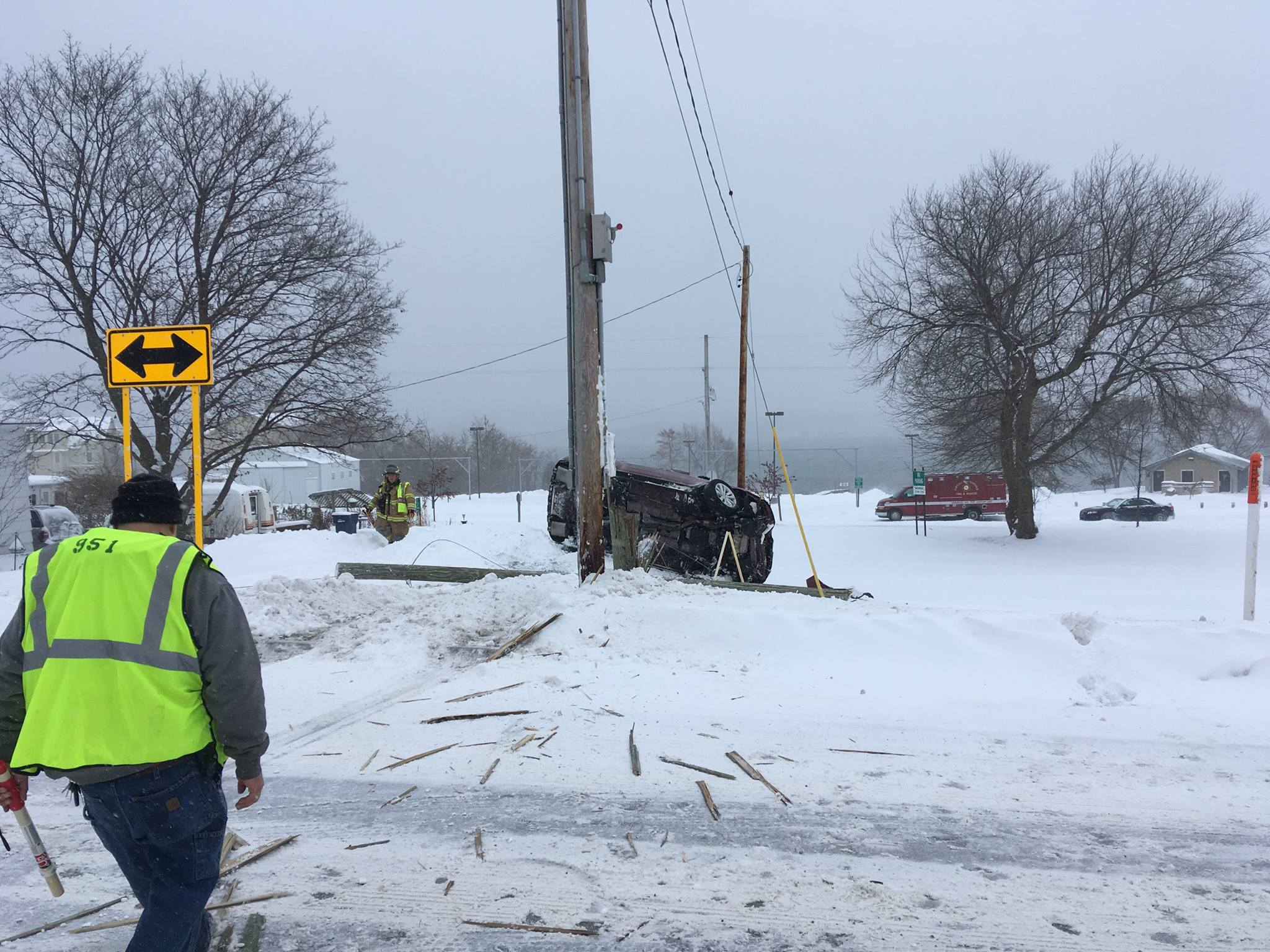 Investigators say the woman was traveling east on Race Street when she failed to slow at the intersection. The car then went through the intersection and leaving the roadway before hitting the pole.{ }Photo Courtesy: Leelanau County Sheriff's Office