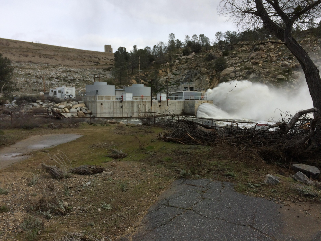 Water is released from the Isabella Dam in Kern County, Calif., Monday, Feb. 27, 2017. (KBAK/KBFX photo/Carol Ferguson)