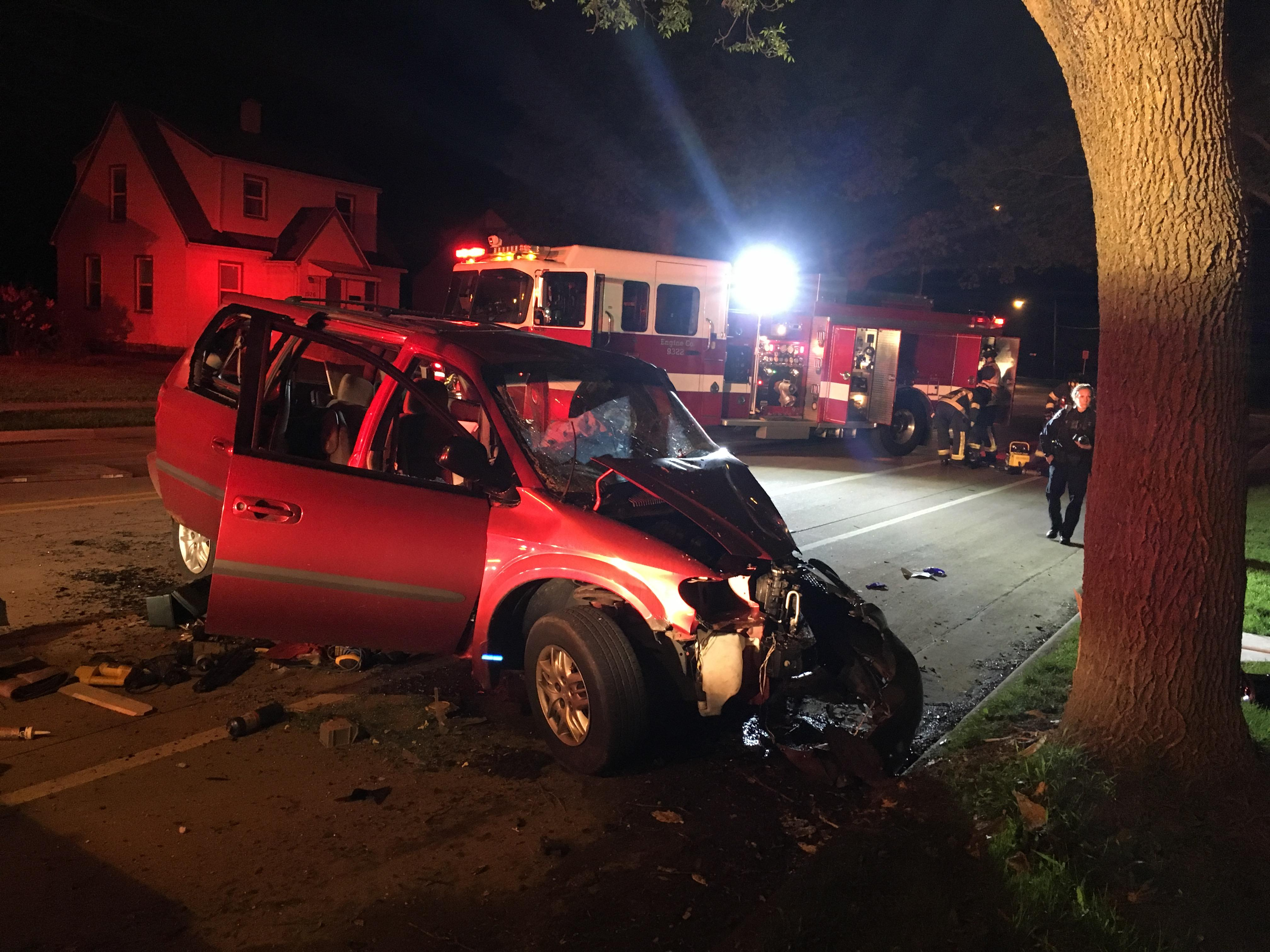 Emergency crews respond to a crash involving a suspected drunken driver on E. Newberry Street in Appleton May 21, 2018. (Photo courtesy Appleton Police Dept.)