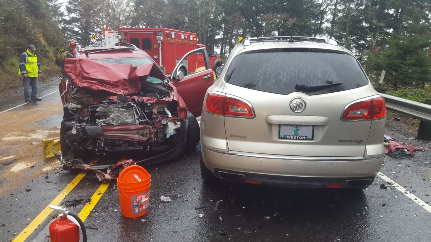 Oregon State Police say two people died from injuries sustained in a March 27 crash on Highway 101 in Tillamook County. Photo courtesy Oregon State Police