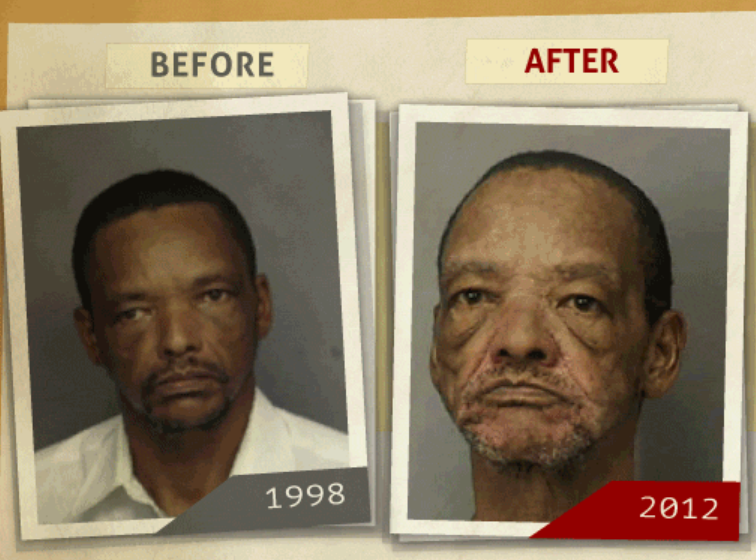 Side-by-side 1998 and 2012 photo taken of man who reportedly had a 'purchase of cocaine ' charge. (Photo, info from rehabs.com/)