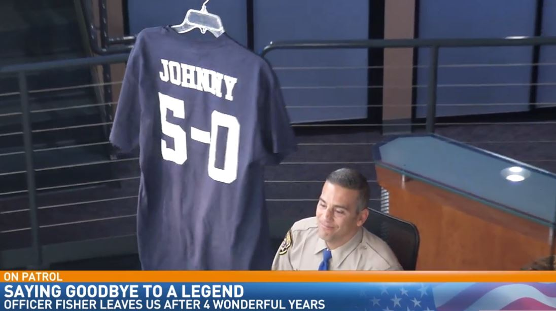 We retired CHP Officer Fisher's jersey, Johnny 5-0<p></p>
