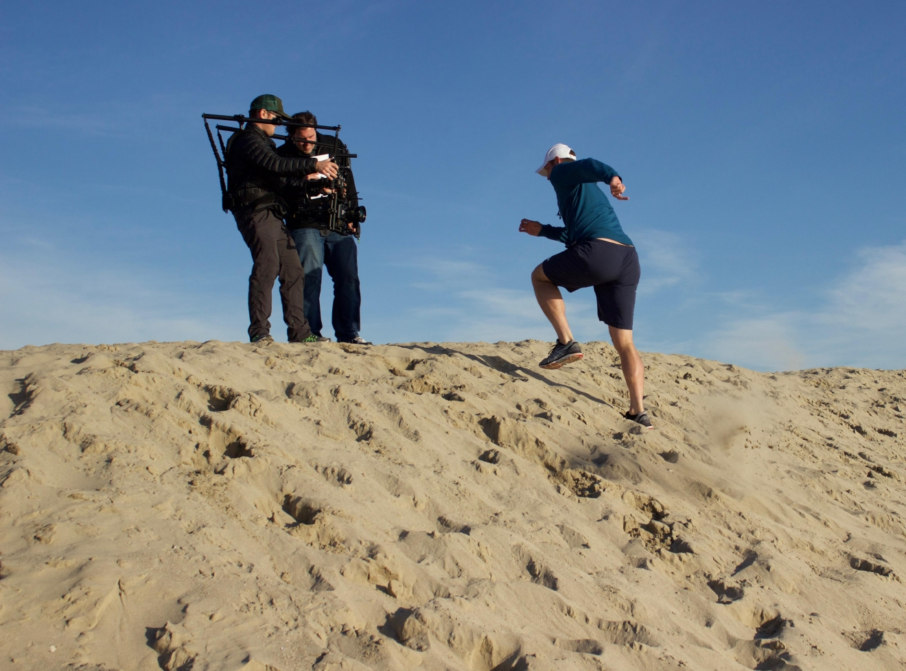 Sam runs up a hill of sand to get the shot seen in the 'My Tennis Life' trailer