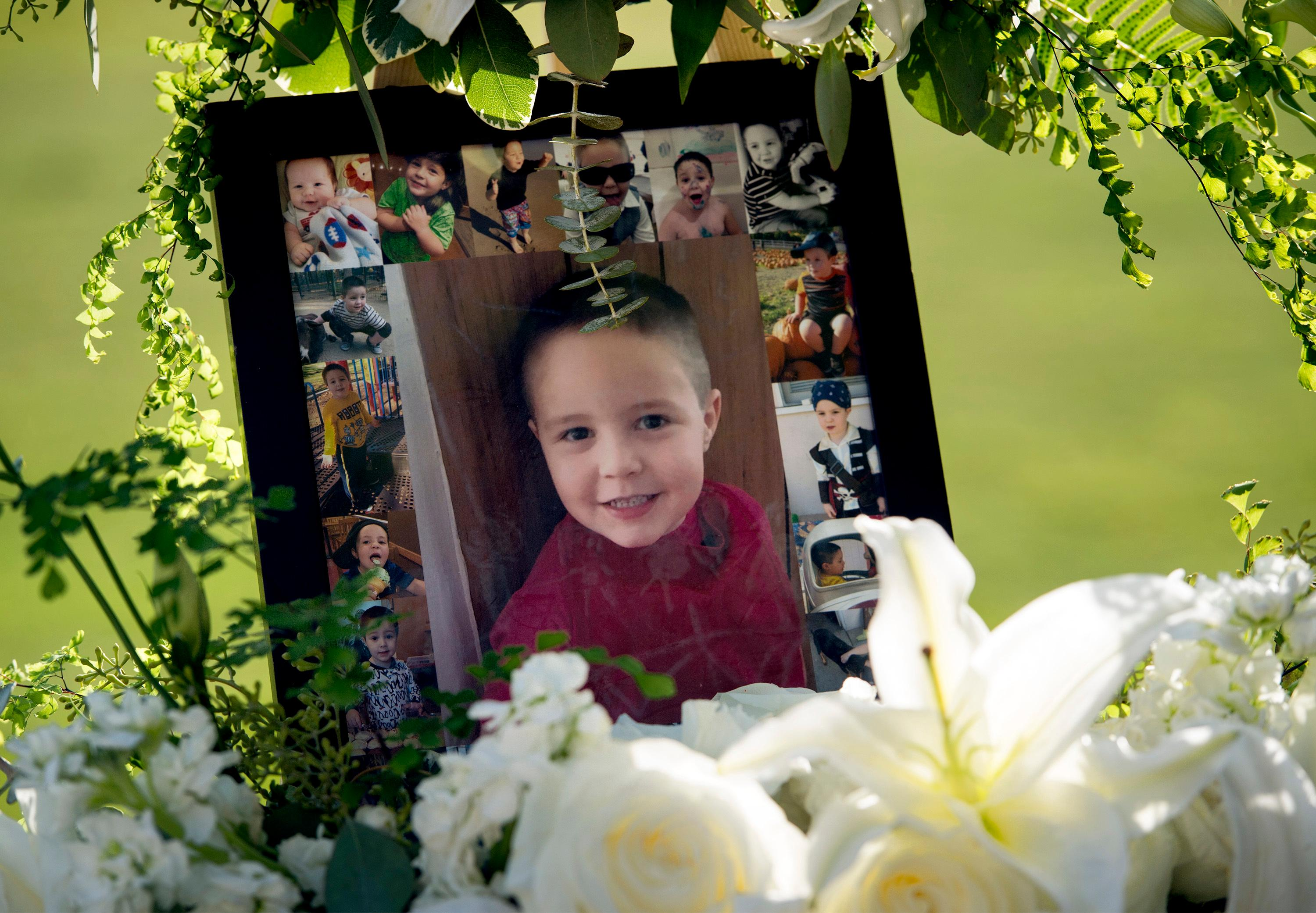 FILE - This July 19, 2017, file photo shows a portrait of 5-year-old Aramazd Andressian Jr. at a memorial service at the Los Angeles County Arboretum in Arcadia, Calif.  (Leo Jarzomb /Los Angeles Daily News/SCNG via AP, File)