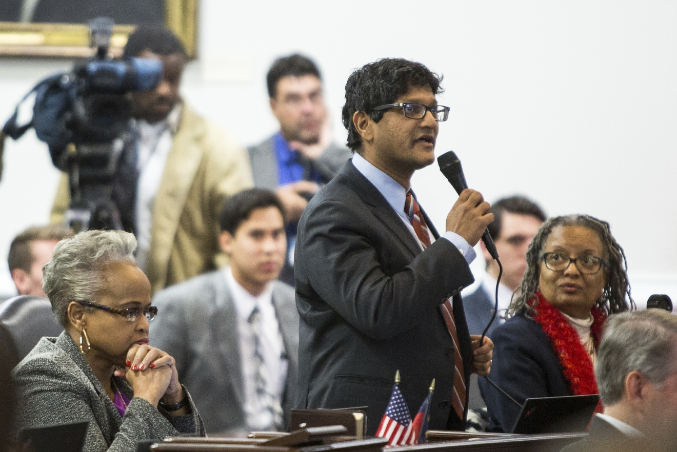 State Sen. Jay Chaudhuri, D-Wake, speaks on the senate floor during a special session of the North Carolina General Assembly called to consider repeal of NC HB2 in Raleigh, N.C., Wednesday, Dec. 21, 2016. North Carolina's legislature reconvened to see if enough lawmakers are willing to repeal a 9-month-old law that limited LGBT rights, including which bathrooms transgender people can use in public schools and government buildings.  (AP Photo/Ben McKeown)