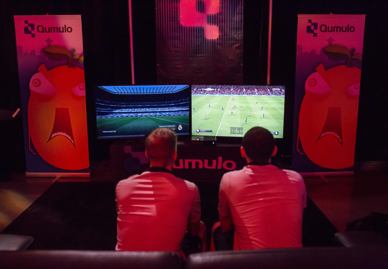 Gamers begin a round of FIFA at the 6th annual Geekwire Bash at the CenturyLink Event Center. (Sy Bean / Seattle Refined)