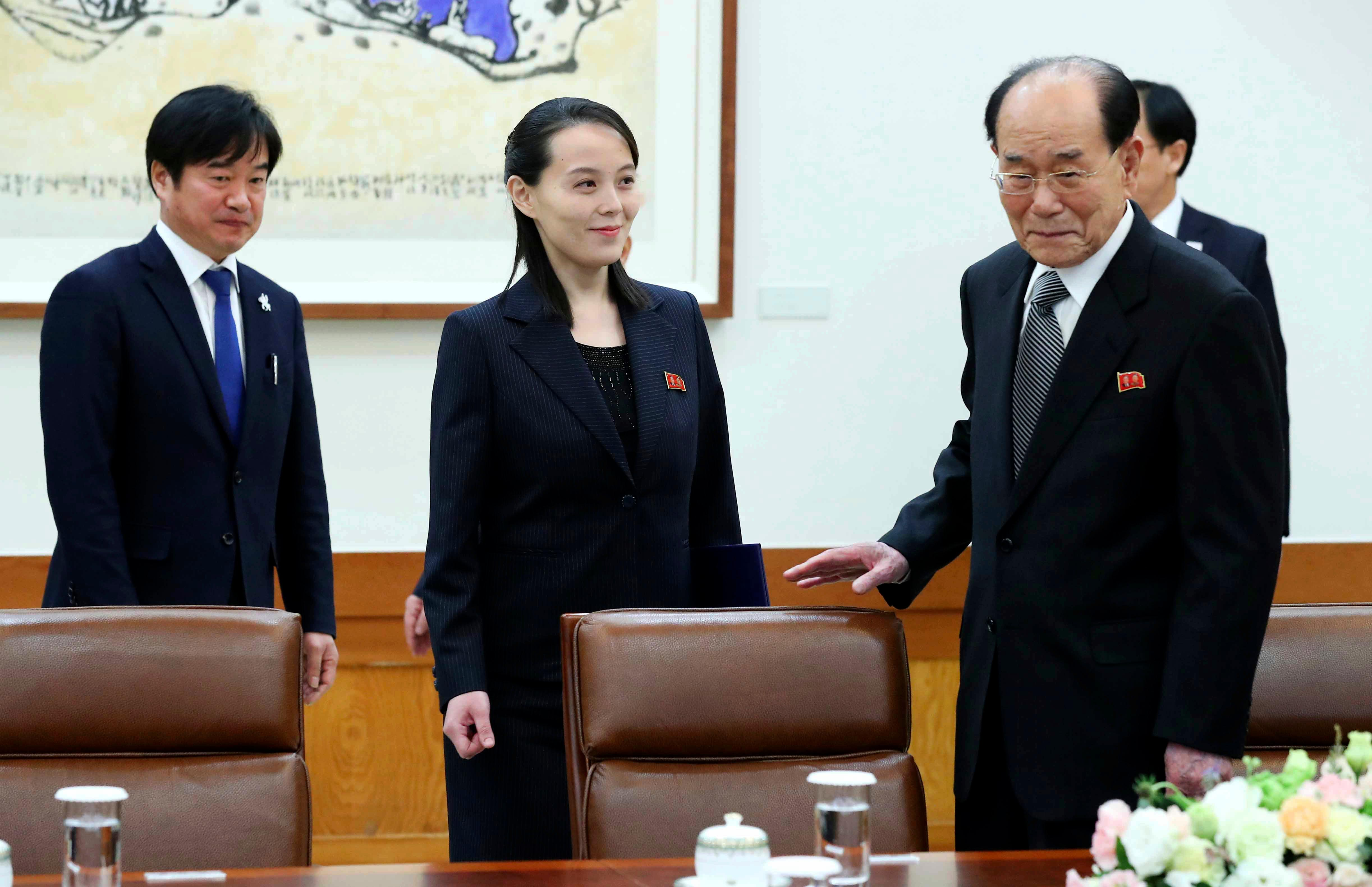 Kim Yo Jong, center, sister of North Korean leader Kim Jong Un, and the country's nominal head of state Kim Yong Nam, right, arrive to meet South Korean President Moon Jae-in at the presidential house in Seoul, South Korea, Saturday, Feb. 10, 2018.  President Moon on Saturday met with the senior North Korean officials over lunch at Seoul's presidential palace in the most significant diplomatic encounter between the rivals in years.(Kim Ju-sung/Yonhap via AP)