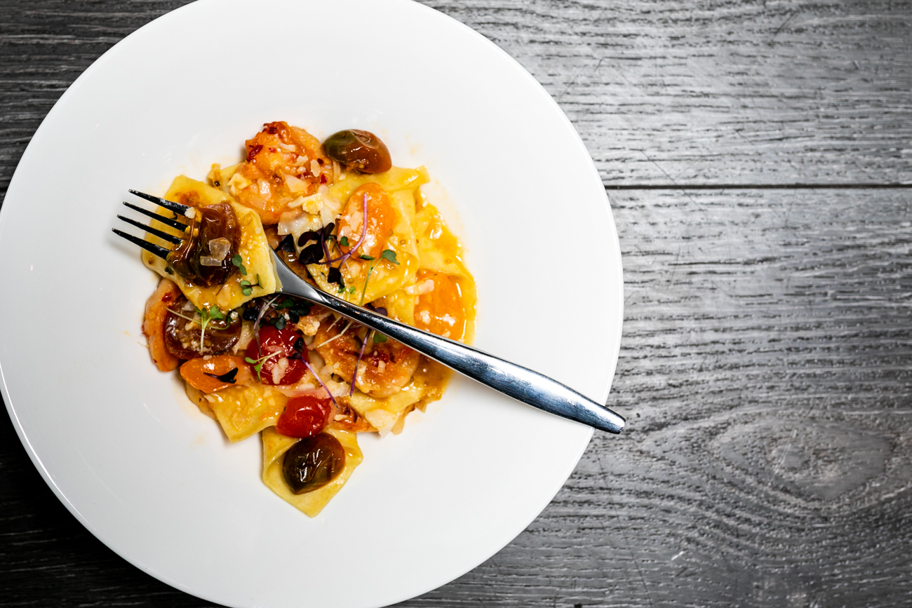 Boursin cheese tortellini with cherry tomatoes, basil, and garlic Parmesan sauce / Image: Amy Elisabeth Spasoff // Published: 11.28.18