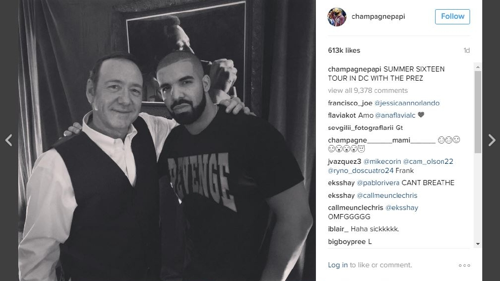 Drake hangs out with Kevin Spacey during tour stop