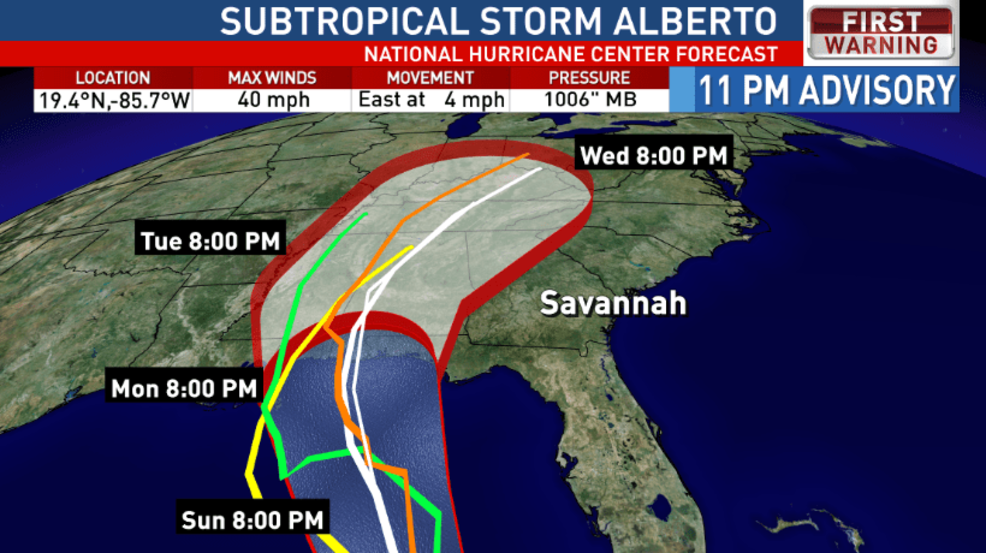 Sub-Tropical Storm Alberto picks up speed and strength
