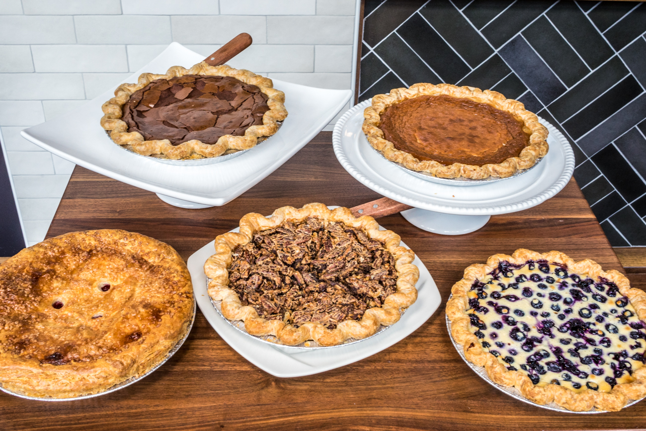 Cherry, Pecan, Blueberry Pancake, Dark Chocolate, and Honey Vinegar Pies / Image: Catherine Viox // Published: 9.16.20