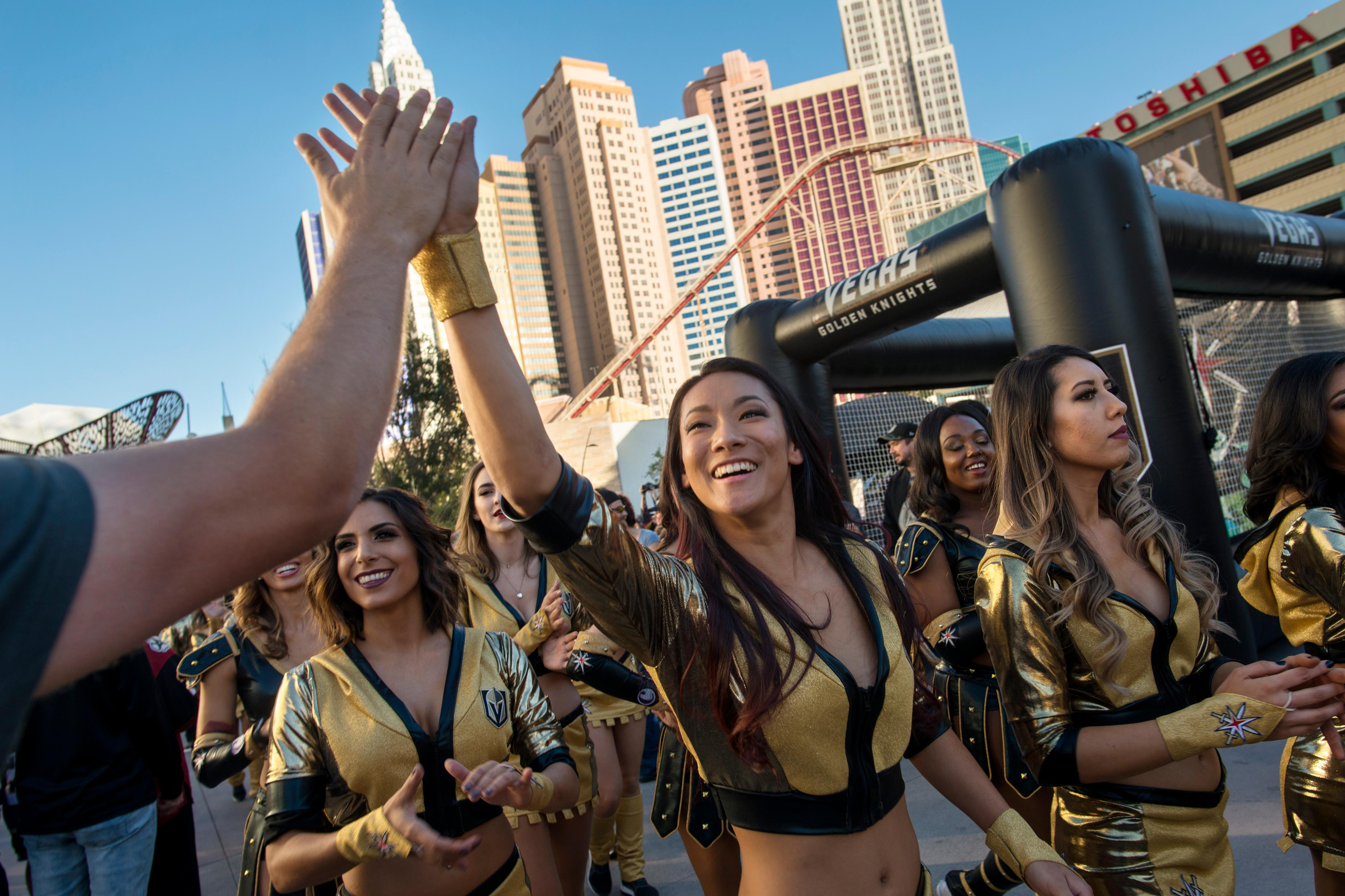 Vegas Golden Knights cheerleaders greet fans before the Vegas Golden Knights home opener Tuesday, Oct. 10, 2017, against the Arizona Coyotes at the T-Mobile Arena. CREDIT: Sam Morris/Las Vegas News Bureau
