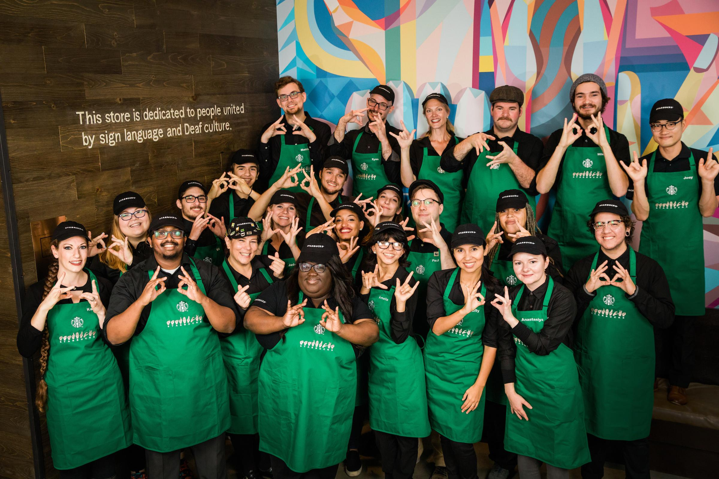 The new employees pose for a photo.{ }{ }(Image: Joshua Trujillo, Starbucks)