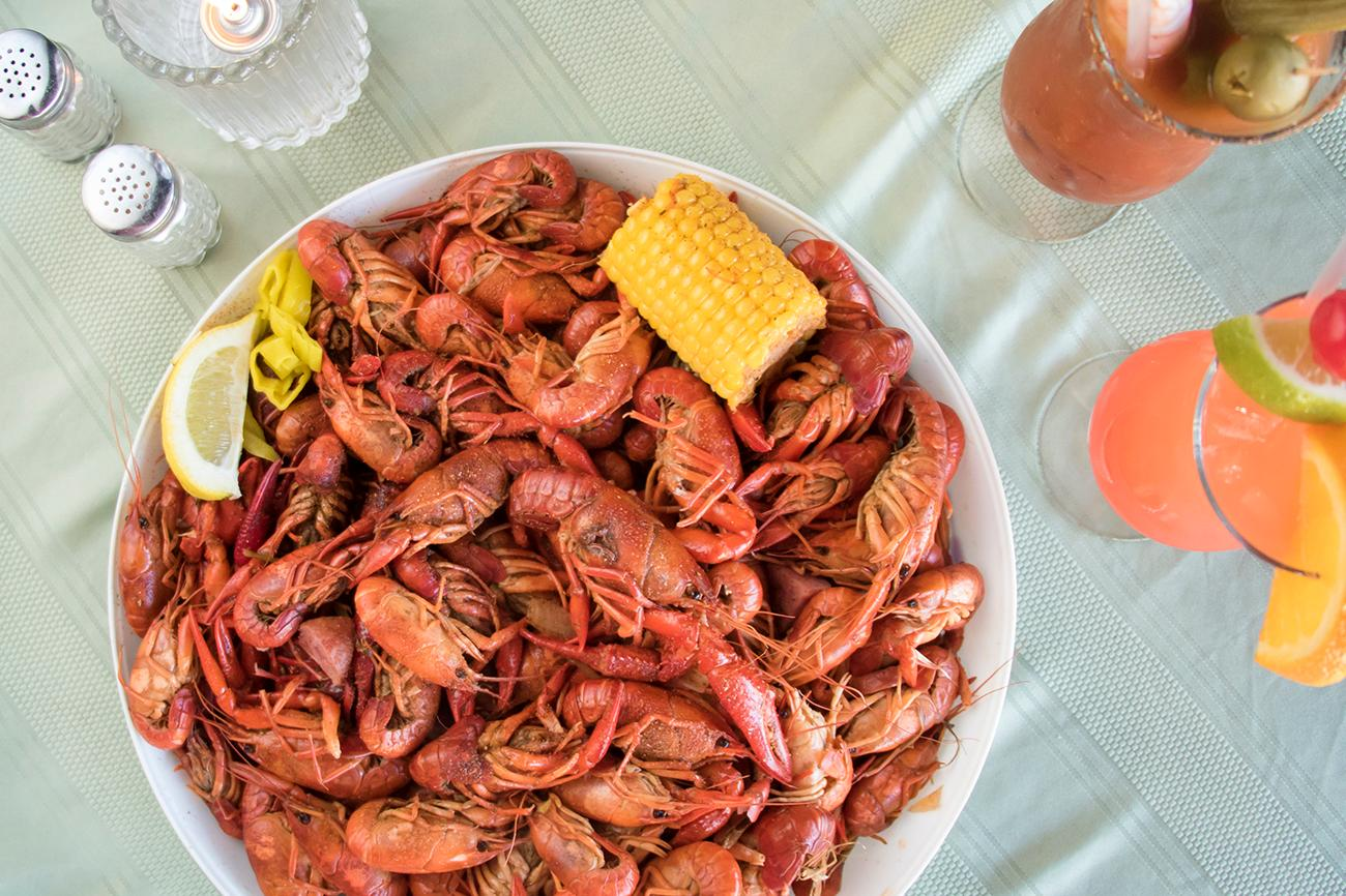 "A crawfish boil from Knotty Pine on the Bayou in Cold Spring, KY. First published on March 7 in ""Knotty Pine On The Bayou Adds A Touch Of The Big Easy To The Bluegrass State"" / Image: Allison McAdams"