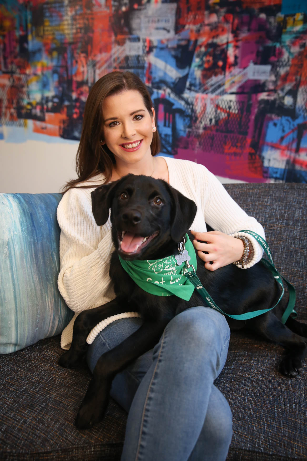 Meet Waggs and Justine, a 5-month-old Lab mix and a 26-year-old human respectively. Photo location: Moxy Washington, D.C. Downtown (Image: Amanda Andrade-Rhoades/ DC Refined)