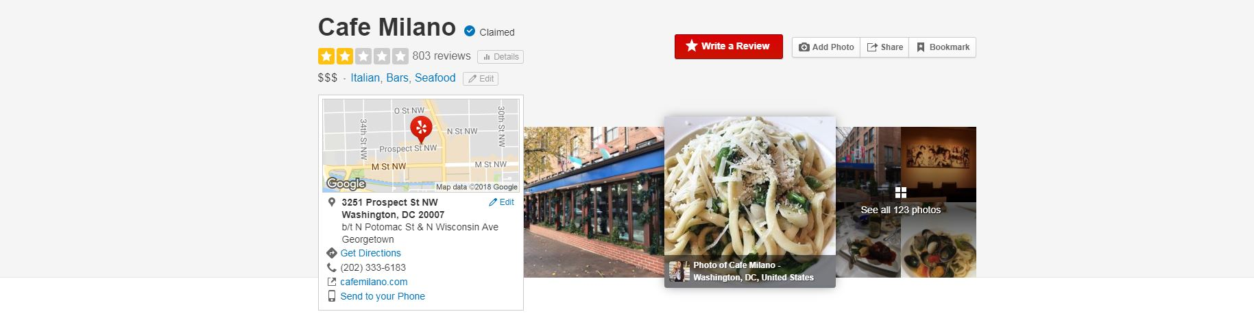 Cafe Milano received close to 300 new one-star Yelp reviews after Chef José Andrés claimed the restaurant denied him entry to a private event.  (Screenshot)<p></p>