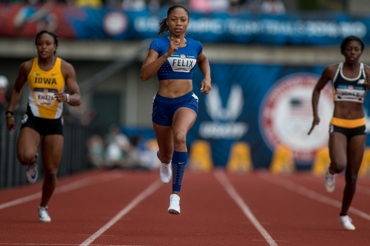 Allyson Felix, who won the 400m earlier this week, competes in the first round of the 200m dash. Photo by Dillon Vibes