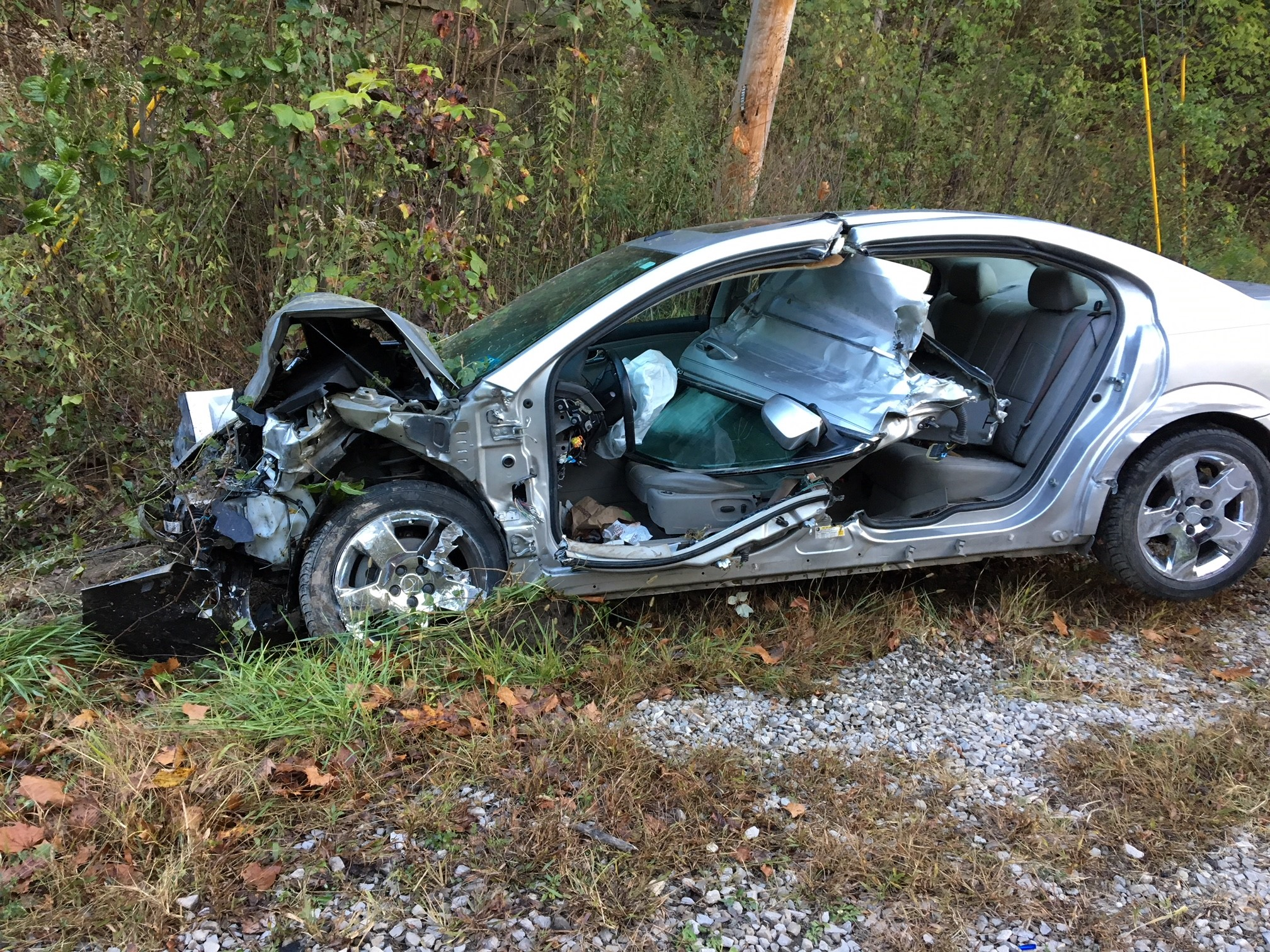 The Saturn traveled 85 feet heading back into its correct lane after striking a truck and braked about 90 feet before hitting a ditch, police said. (WCHS/WVAH){&amp;nbsp;}{&amp;nbsp;}<p></p>