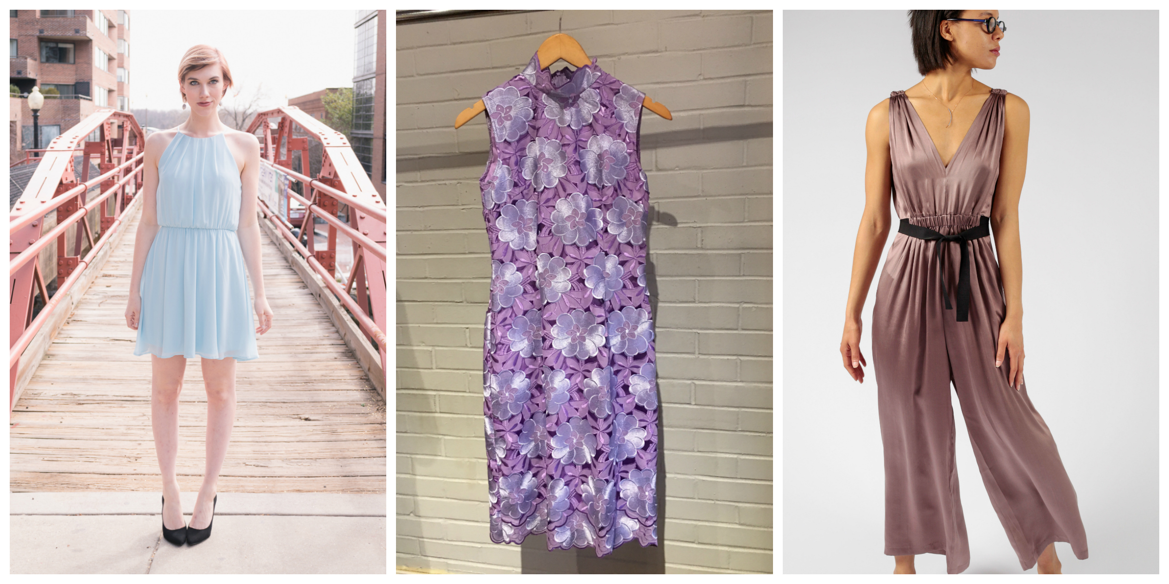 From solid-colored frocks that can be dressed up with chunky accessories or a dramatic hairdo, to wild patterns that need minimal styling and chic jumpsuits, we've got an option for every type of wedding guest. So if you've got a spring soiree and need to dress to impress, check out our 10 recommendations all from local boutiques below. (Images: Courtesy Violet Boutique, Current Boutique and Betsy Fisher, from L to R)