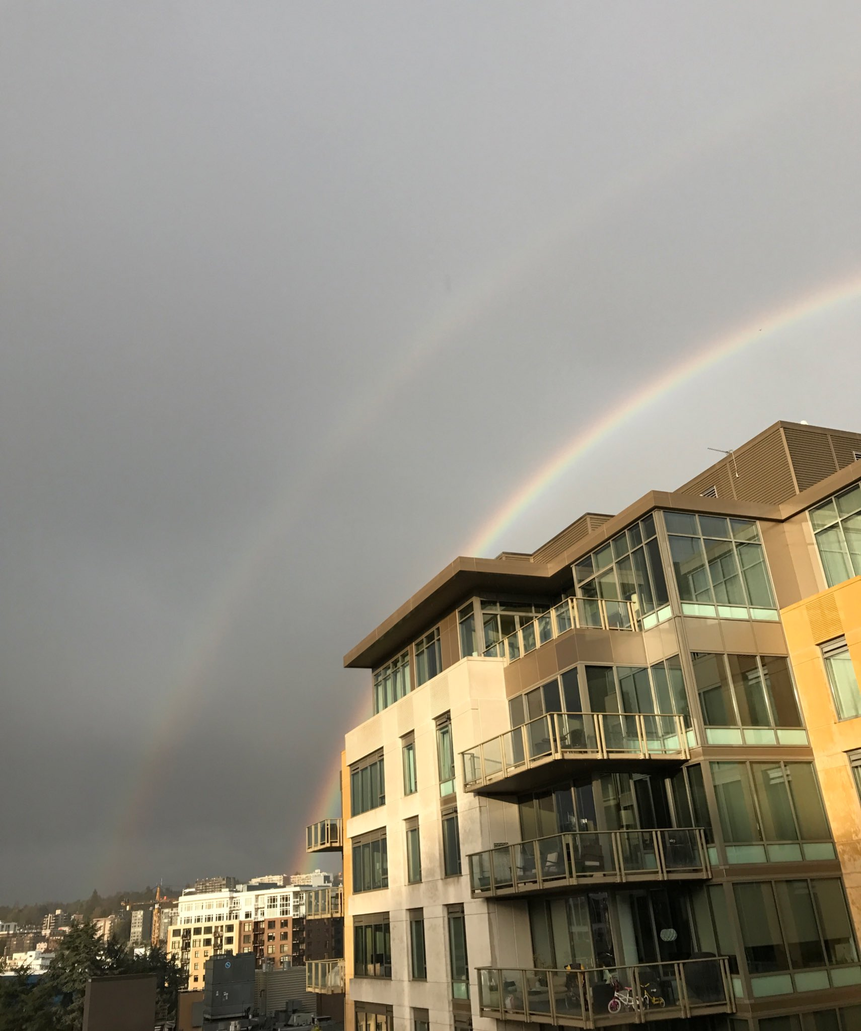 A double rainbow is seen in downtown Seattle, Tuesday, April 18, 2017. (Photo: Art Ruiz)