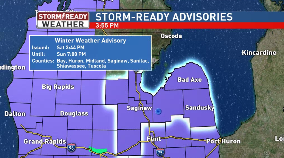 Winter Weather Advisories are in effect until 7 p.m. Sunday night<p></p>