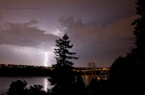 Lightning over the Tacoma Narrows Bridge July 9, 2012, by John Harder.