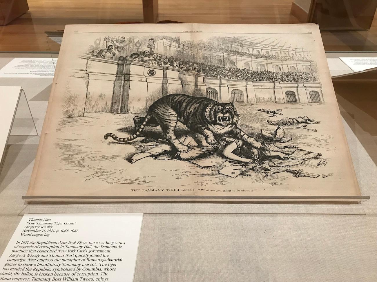 """Tammany Tiger Loose"" from an 1871 edition of Harper's Weekly is part of the 'Front Line' exhibition, which examines free speech through historical cartoons. / Image courtesy of the Billy Ireland Cartoon Library & Museum // Published: 7.1.19"
