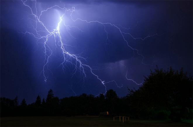 Lightning strikes Battle Ground, Washington on Aug. 1, 2014. Photo courtesy: