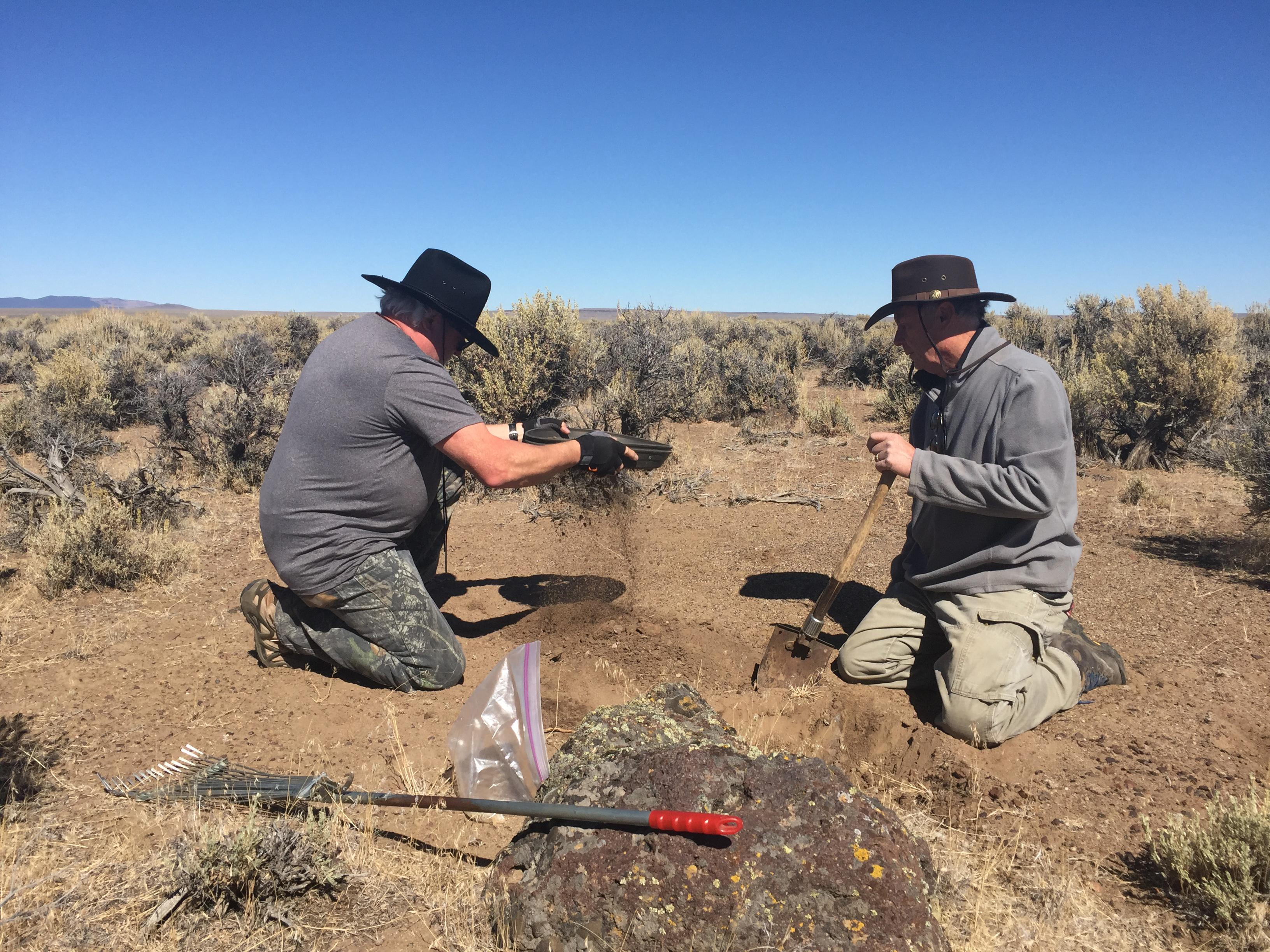 Photo courtesy Lakeview District BLM <br><p>Screening for sunstones at the BLM free site.</p>