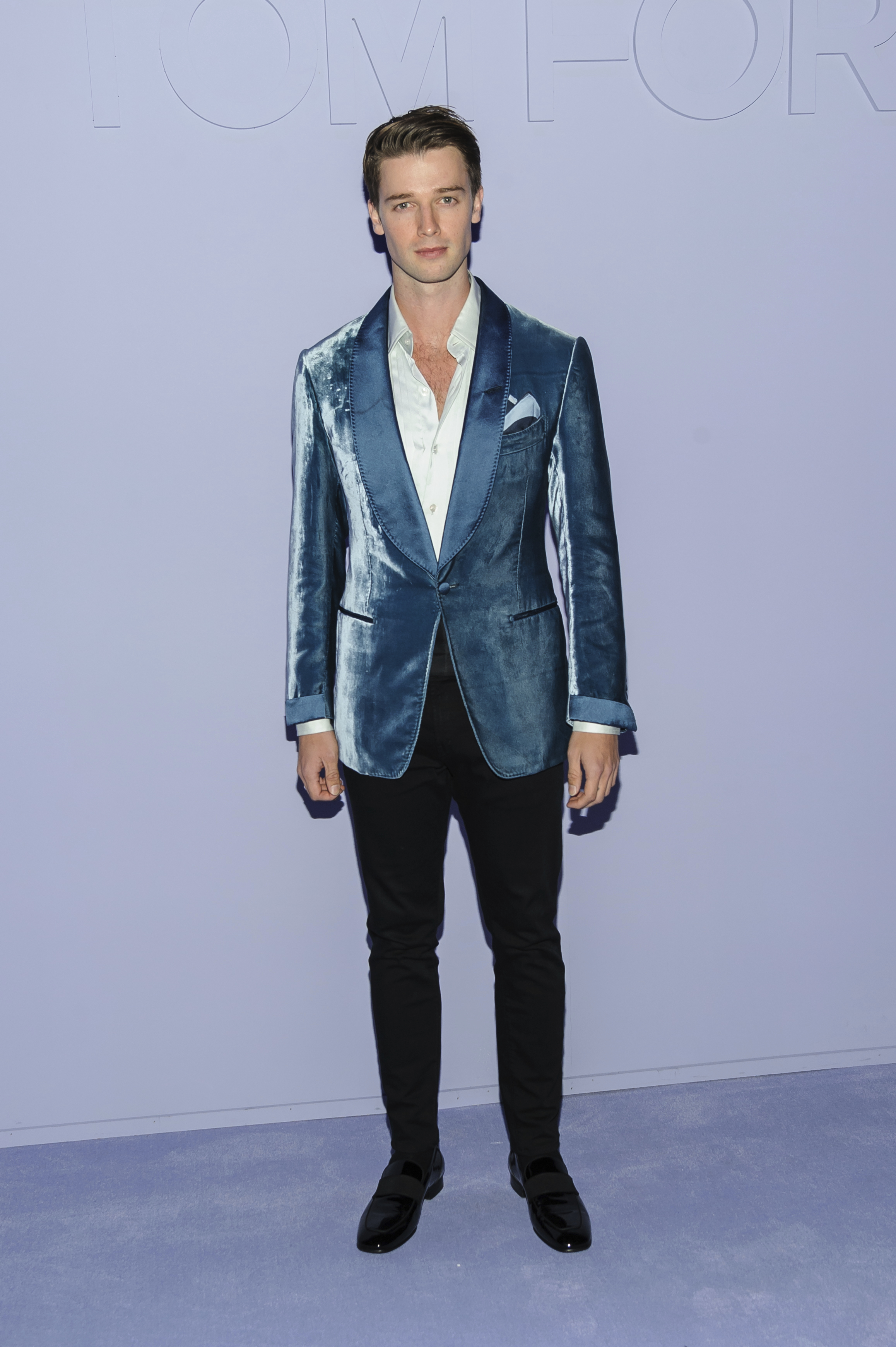 Patrick Schwarzenegger is seen at Tom Ford at Park Avenue Armory on Tuesday, Feb. 6, 2018, in New York, NY. (Photo by Christopher Smith/Invision/AP)