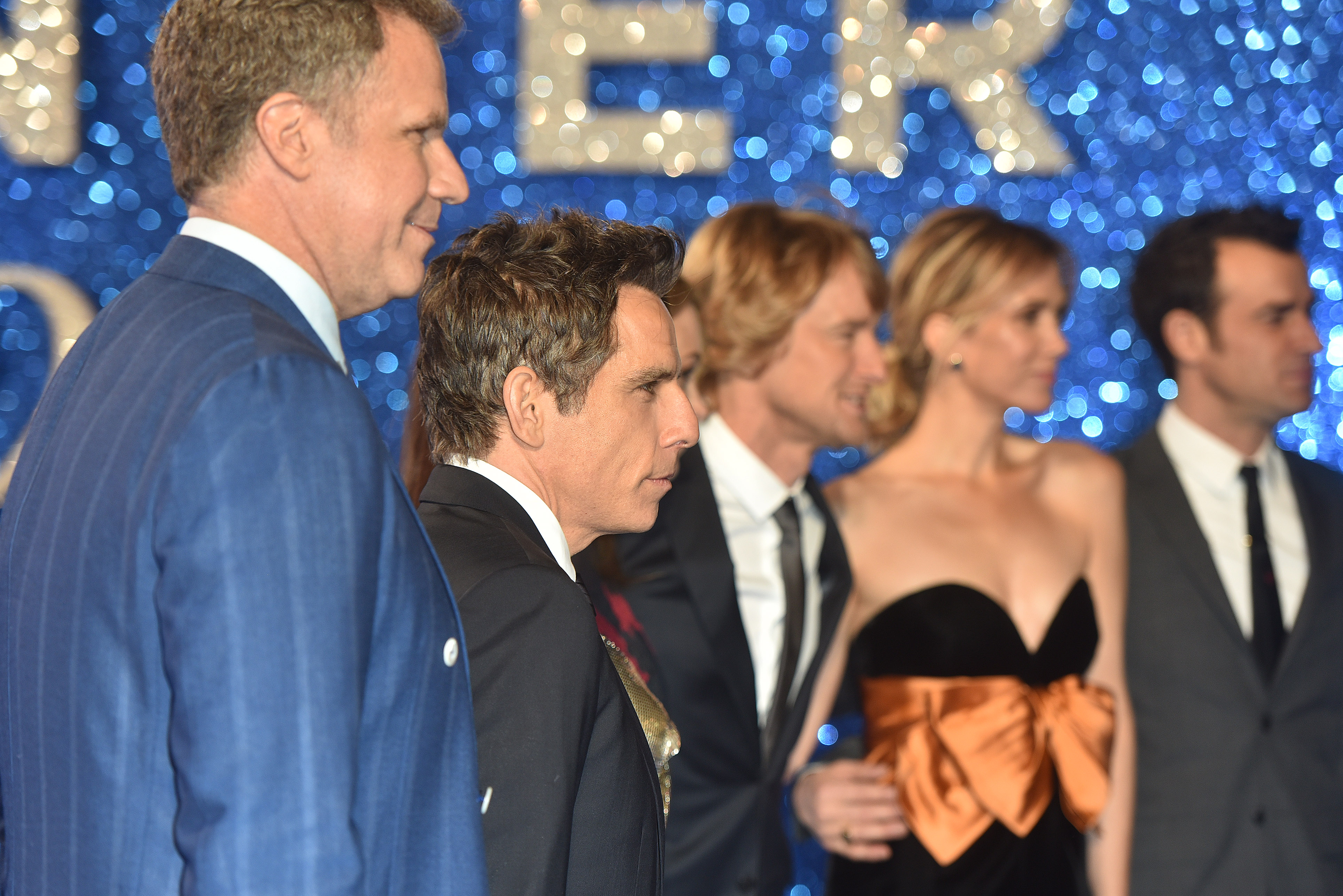 "Will Ferrell, Ben Stiller, Owen Wilson, Kristen Wiig and Justin Theroux attend the ""Zoolander 2"" U.K. premiere held at the Empire Leicester Square in London on Feb. 4, 2016. (Daniel Deme/WENN)"