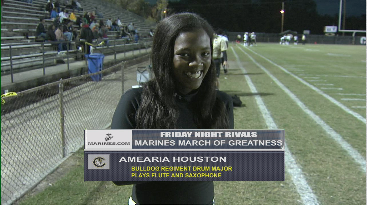 Week 11's Marine Corps March of Greatness recipient is Camden High School's Amearia Houston