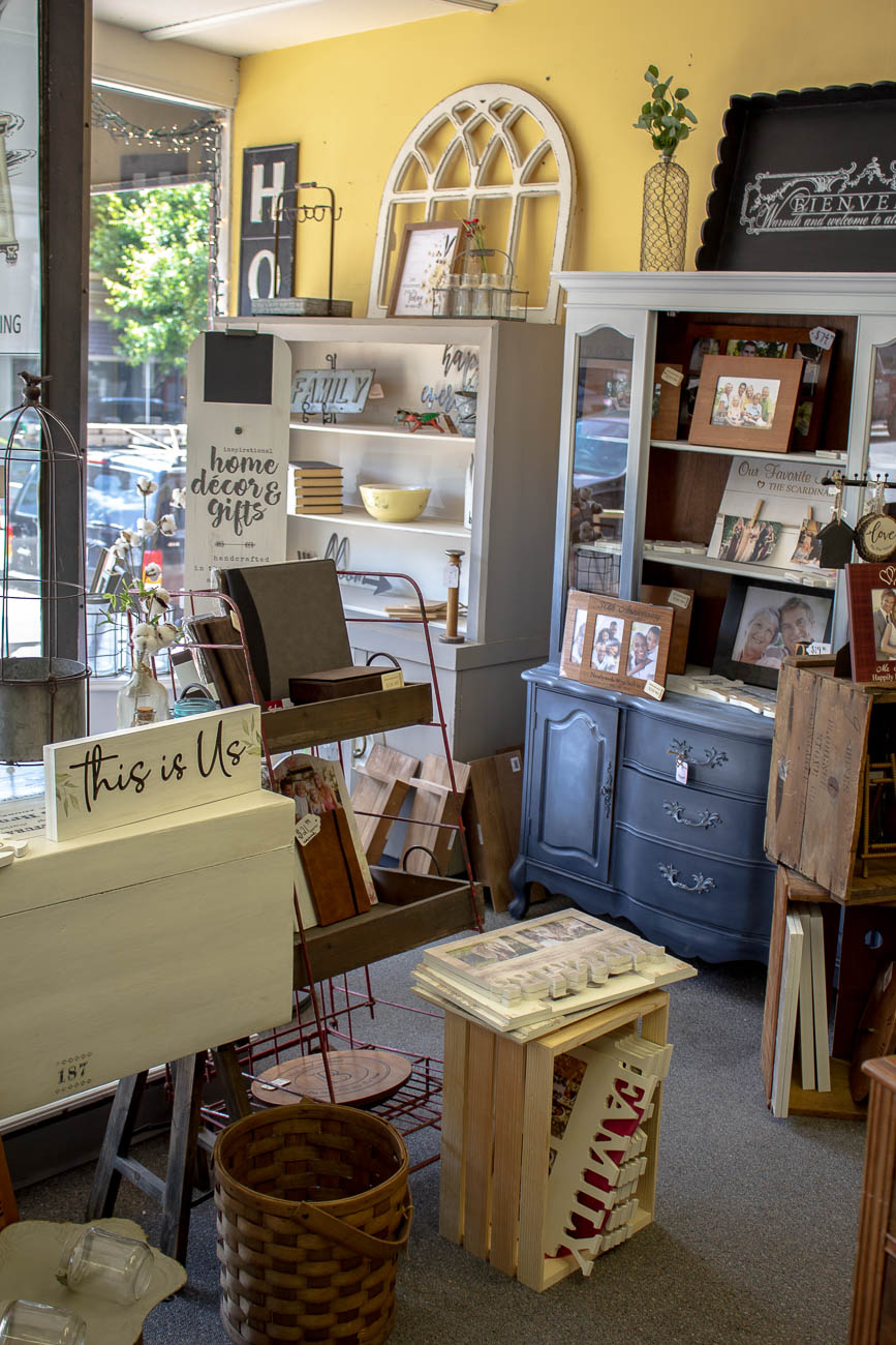 A whole corner of the shop is dedicated to custom engraving. The laser engraving process is quick and can typically be done in the same day on a variety of surfaces such as wood, metal, and leather. Items like signs, frames, pocket knives, trays, and tableware are popular pieces customers buy from Dresser Up to customize for someone's graduation, wedding, or just a thoughtful present without requiring a celebration. / Image: Katie Robinson, Cincinnati Refined // Published: 6.8.19