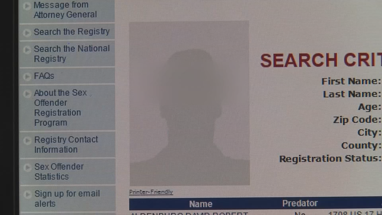 Carolina north registry sex