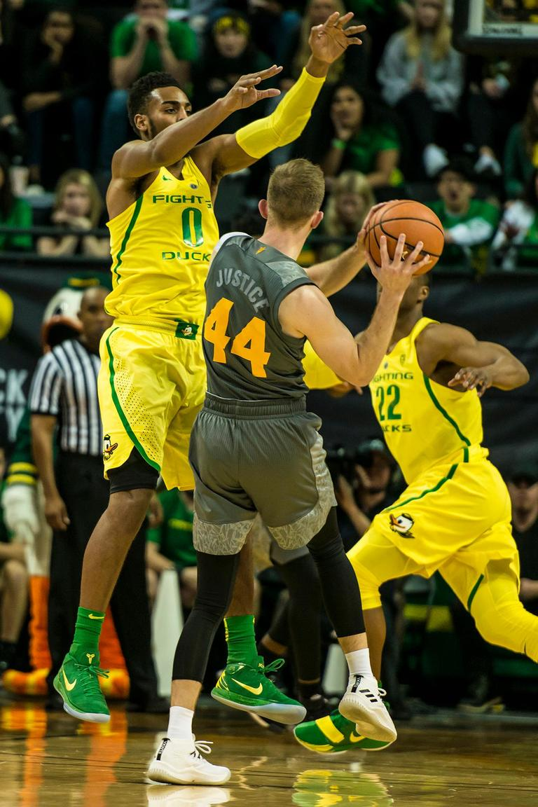 Oregon's Kenny Wooten (1) blocks an ASU player in their matchup against ASU at Matthew Knight Arena Thursday. Oregon defeated ASU 75-68 to improve their season record to 18-10 (8-7 PAC-12). The Ducks face off against fourteenth ranked Arizona for their final home game of the season at Matthew Knight Arena on Saturday. (Photo by Colin Houck)