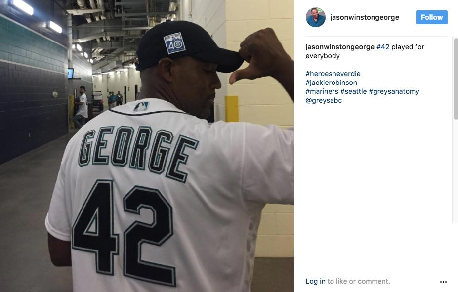 """#42 played for everybody. #heroesneverdie #jackierobinson #mariners #seattle #greysanatomy"" - Jason George (aka Ben Warrnen). (Image: @jasonwinstongeorge Instagram)"