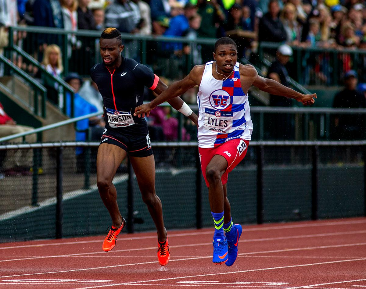 It may have been Noah Lyles (right) that won the second heat of the 200 meters, but it was Jarrion Lawson that won the hair style competition. Photo by August Frank, Oregon News Lab