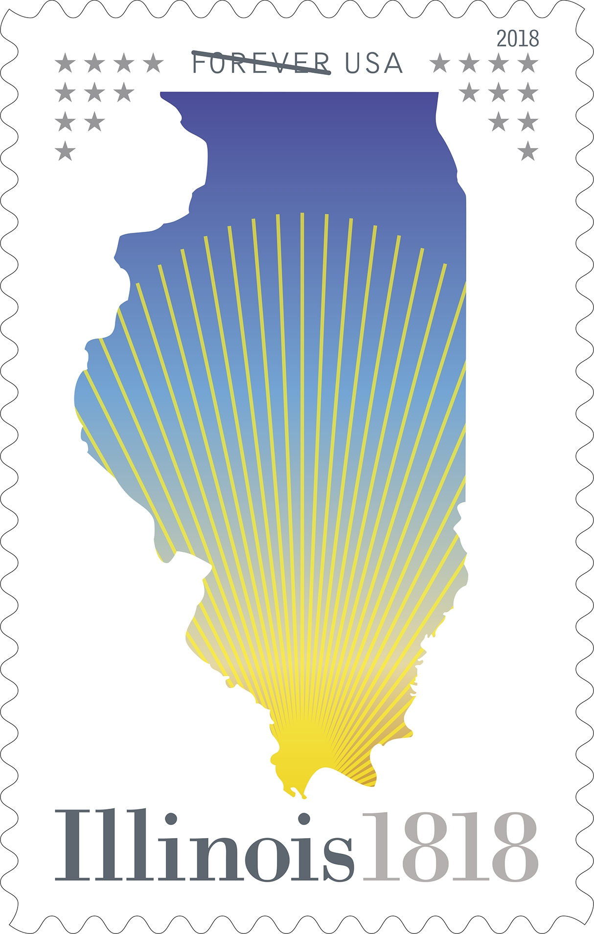 Illinois Statehood (Statehood series): This stamp celebrates the 200th anniversary of Illinois statehood. Known as the Prairie State, Illinois became the 21st state of the union on Dec. 3, 1818. (USPS)