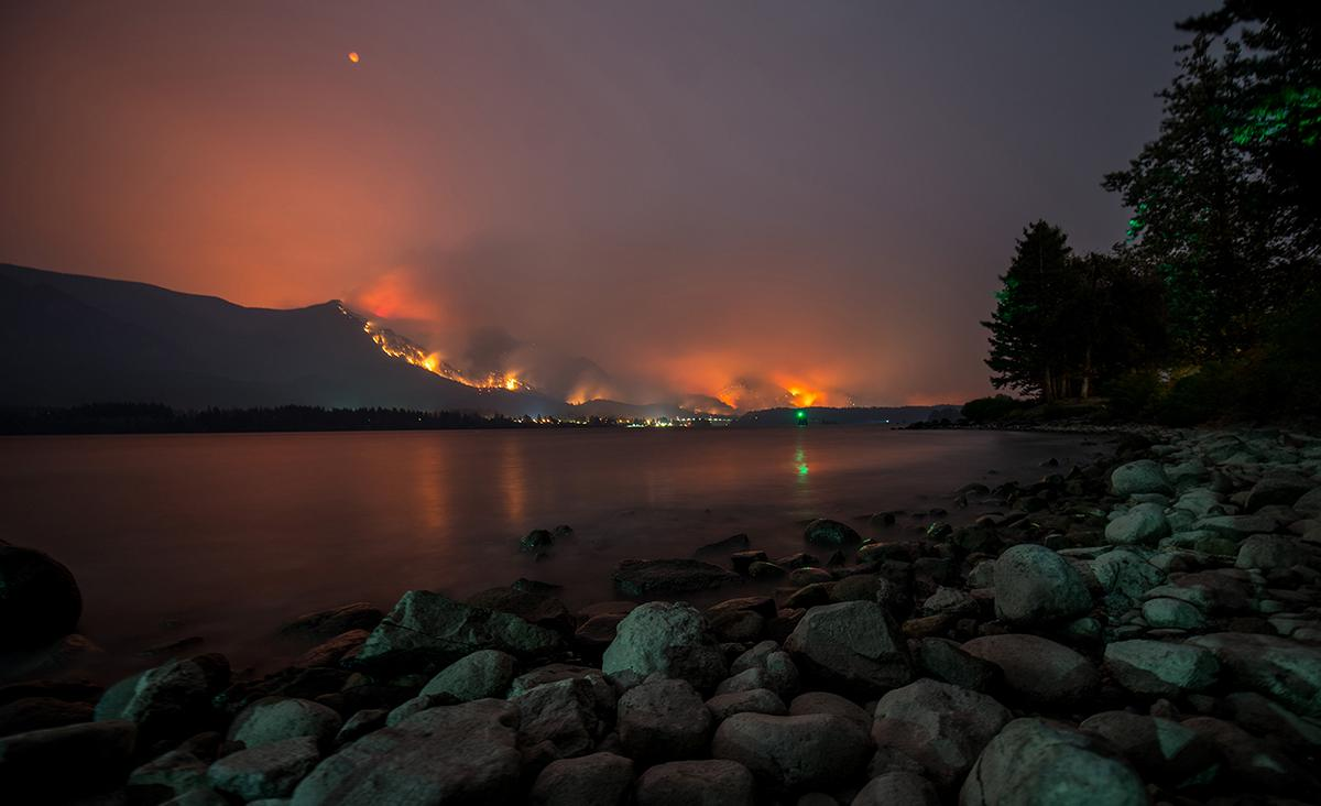 Photo of the Eagle Creek Fire from Stevenson, Washington where the Red Cross has set up an emergency shelter for those evacuated by the blaze. (Photo taken Sept. 4, 2017 by Tristan Fortsch)