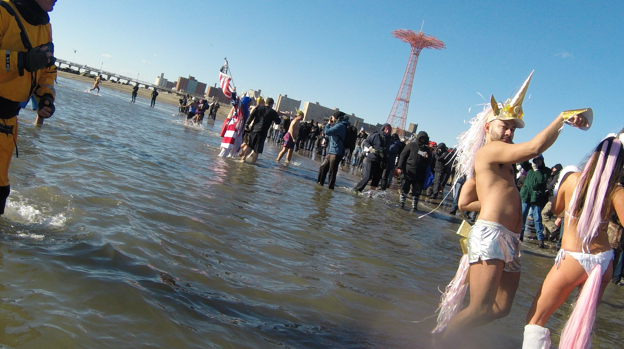 2018 Polar Bear Swim in Coney Island  Featuring: Atmosphere Where: Manhattan, New York, United States When: 01 Jan 2018 Credit: TNYF/WENN.com