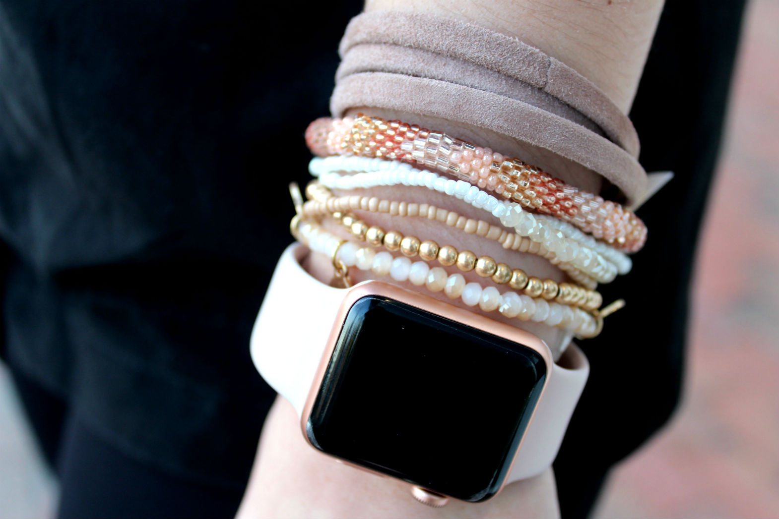 SOUTH MOON UNDER: Much Too Much Multi Layer Stretch Bracelet Set ($28), Aid Through Trade Roll On Bracelet ($14.95), Love Poppy Leather Wrap Bracelet Tan Suede ($35){&amp;nbsp;}(Image: Jullie Gallagher/ DC Refined)<p></p>