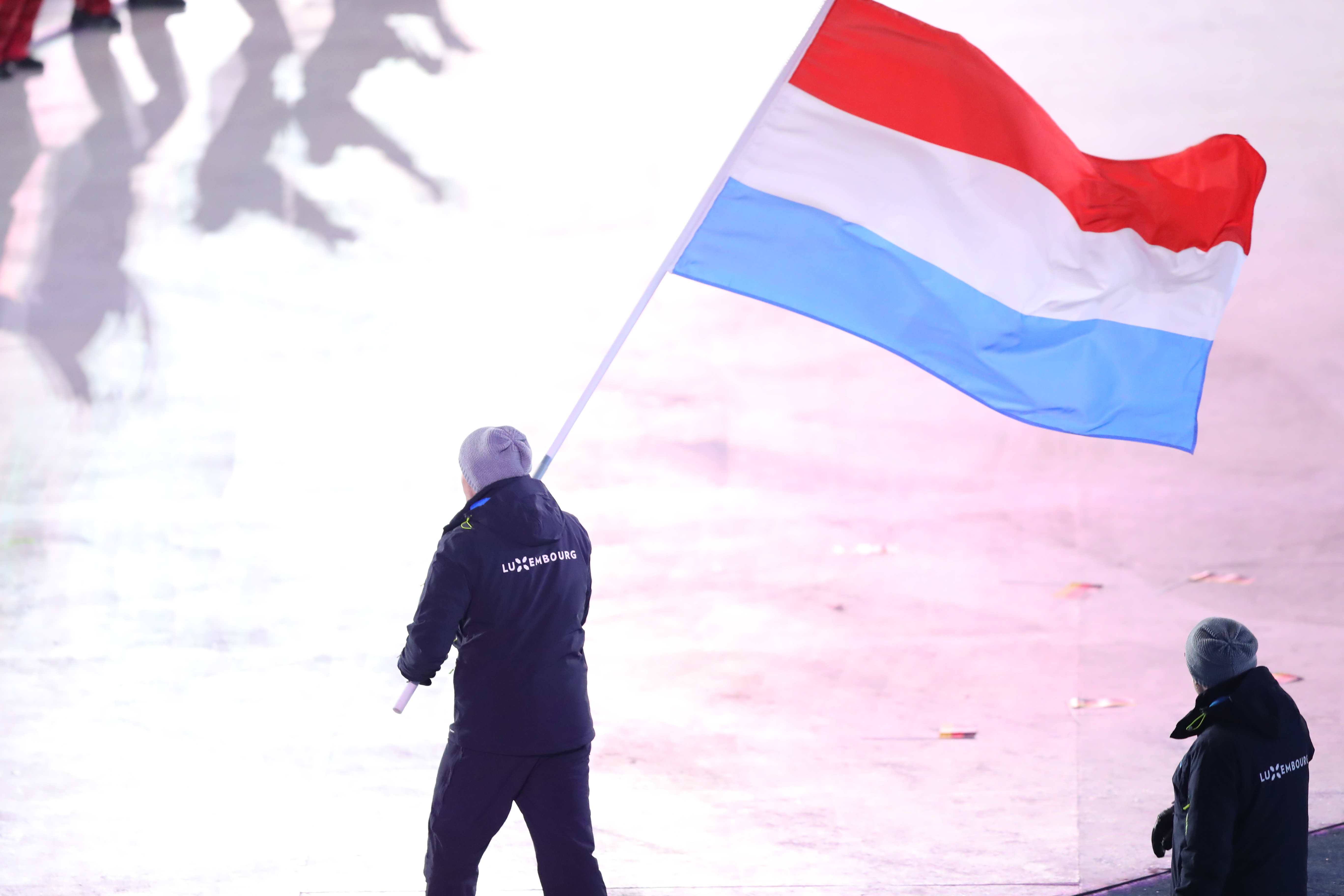2018 Winter Olympic Games - Opening Ceremony  LUXEMBOURG,  PYEONGCHANG-GUN, SOUTH KOREA - FEBRUARY 09: Flag bearer Matthieu OSCH of Luxembourg and teammates enter the stadium during the Opening Ceremony of the PyeongChang 2018 Winter Olympic Games at PyeongChang Olympic Stadium on February 9, 2018 in Pyeongchang-gun, South Korea. XXIII. OLYMPIC WINTER GAMES PYEONGCHANG 2018: OPENING CEREMONY,  PyeongChang, Korea, Winter Olympics; PyeongChang Olympic Stadium, on 9. February 2018, fee liable image, copyright © ATP / OSADA Yohei  Featuring: Matthieu OSCH of Luxembourg Where: Pyeongchang, Gangwon Province, South Korea When: 09 Feb 2018 Credit: ATP/WENN.com  **Not available for publication in Germany or France. No Contact Music.**