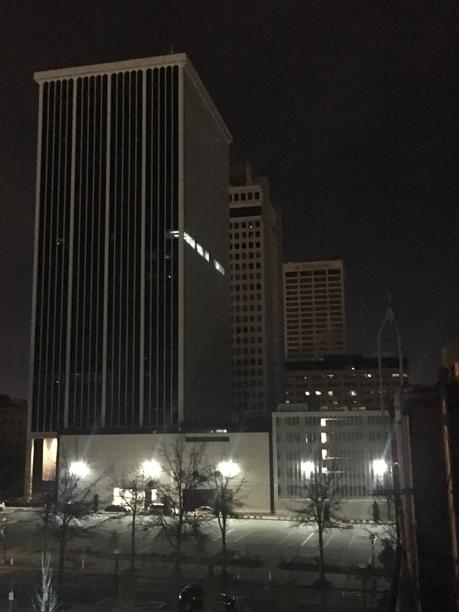 A Channel 7 SkyCam shows parts of downtown Little Rock affected by a power outage Tuesday night.<p></p>
